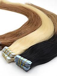 40pieces 2.5G / st 100g 12 tums-26inch brasilianskt jungfru tejp människohår förlängning # 4 band i mänskliga hårförlängningar 003