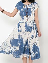 Women's Round Collar Short Sleeves Collect Waist Tie-Dye Dress