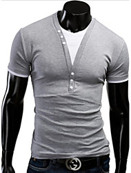White Men's Casual V-Neck Short Sleeve T-Shirts (Cotton Blend)