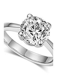 T&C Women's Classic 18k White Gold Plating 4 Prongs 1.25 Carat Single Cz Diamond Simple Wedding Ring