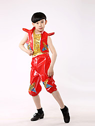 Jazz Performance Outfits Children's Performance Polyester Fashion Sequins Outfit Red/Blue Kids Dance Costumes