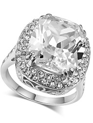 HKTC Ultra-Big Four Claw 18k White Gold Plated Princess Cut Royal Oval Cubic Zirconia Wedding Ring