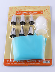 Set of 6 Cake Decorating Kit Icing Bag Tips Baking Tool Paste Food Pastry Piping 15*6*2 cm