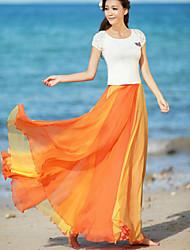 Women's Summer Fashion Color Matching Beach Long Skirts