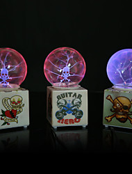 Resin Crystal Ball Skull Head Rechargeable LED Lamp (Random Color:Red & Blue)