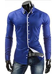 White Men's Casual Shirt Collar Long Sleeve Casual Shirts