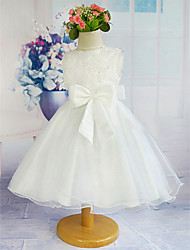 Flower Girl Dress - A-line Longueur genou Sans manches Tulle/Polyester