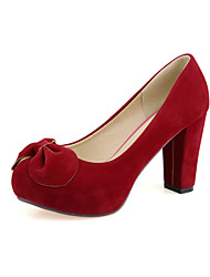 Women's Shoes Fleece Chunky Heel Round Toe Pumps Shoes with Bowknot Dress More Colors available