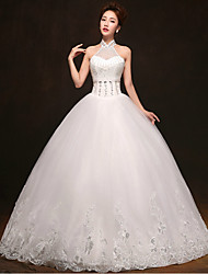 Ball Gown Floor-length Wedding Dress -High Neck Tulle
