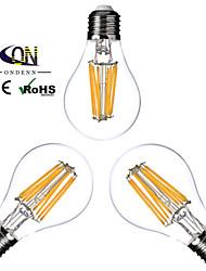 8W E26/E27 Ampoules à Filament LED A60(A19) 8 COB 800 lm Blanc Chaud Gradable AC 100-240 AC 110-130 V 3 pièces