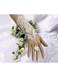 Até o Cotovelo Sem Dedos Luva Luvas de Noiva / Luvas de Festa Primavera / Verão / Outono / Inverno Floral