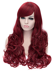 The New Cartoon Color Wig Dark Red  Inclined Bang Curly Hair Wigs