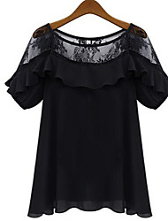 Women's Sexy Casual Cute Work Plus Sizes Micro Elastic Short Sleeve Regular Blouse  Chiffon