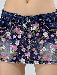 Women's  Floral Denim Skirts Pants Jeans