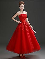 Vestido - Vermelho Festa Formal Linha-A Sem Alça Longuete Tule