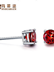1.5Ct Round Genuine Red Garnet S925 Sterling Silver Stud Earrings