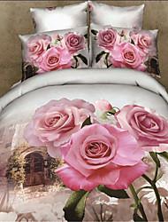 Shuian® 3D 100% Cotton Reactive Printing Bedding Sets Four Pieces Quilt Duvet Cover Bed Sheet Pillowcase Flat Sheet