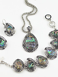 Toonykelly Vintage Antique Silver Water Drop Abalone(Earring and Necklace and Braclet)Jewelry Set