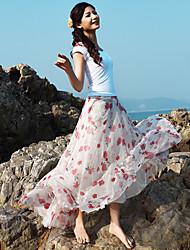 Women's Blue/Red Skirts , Beach/Casual/Print/Cute/Maxi Maxi