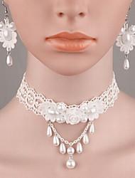 Damen Schmuckset Modisch Modeschmuck Perle Künstliche Perle Spitze Harz Aleación Halsketten Ohrringe Für Hochzeit Normal