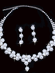Fashion Women's Silver Pearl Rhinestone Necklace&Ring Set