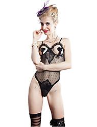 I-Glam Women's Underwear Sexy Mesh Lingerie Night Wear Teddy One Piece Bustier Bra withThong Stocking Black