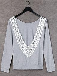 Långärmad T-shirt Kvinnors Rund hals Spets/Bomull