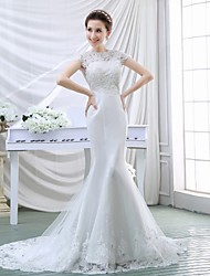 Trumpet/Mermaid Wedding Dress - White Court Train High Neck Crepe/Lace