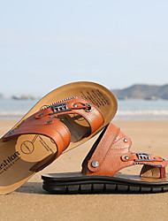 2015 summer new sandals men leather thong sandals slippers flip-flops