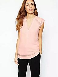 Women's Casual Sleeveless Regular Blouse (Chiffon/Organza)