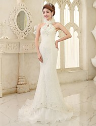 Trumpet/Mermaid Court Train Wedding Dress -Halter Tulle