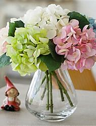 seis hygrangeas artifical flores com vaso