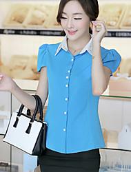 Women's Sexy Casual Micro Elastic Short Sleeve Regular Shirt (Chiffon)