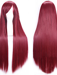 Cosplay Hot Models High-quality Synthetic Wig 80cm High Temperature Wire Straight Hair Red Wine Long Straight Hair