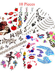 10PCS Mixed Patterns Temporary Tattoos Sticker Women Girl Flower Tattoos Arm Neck Tattoos