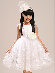 Ball Gown Knee-length Flower Girl Dress - Lace/Satin Sleeveless