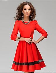 сплошной цвет morefeel женщин плиссированные круглым воротом середине рукава платья