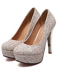 U®Women's Shoes Leatherette Stiletto Heel Heels/Round Toe Pumps/Heels Wedding/Party & Evening/Casual Silver/Gold
