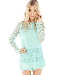 Women's Vintage Crochet Light Blue White Shirt