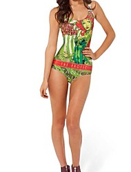Women's Green Polyester Printed Scarlett Sexy One-piece Swimwear
