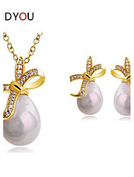 Women's Alloy/Rhinestone/Imitation Pearl Wedding/Party Jewelry Set With Imitation Pearl/Rhinestone/Cubic Zirconia