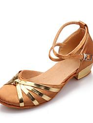 Women's/Kids' Dance Shoes Latin Satin Low Heel Black/Blue/Brown/Red