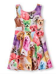 Girl's Summer Animal Vest Dress Inelastic Thin Sleeveless Dresses (Cotton Blends)