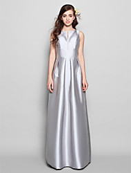 Floor-length Satin Bridesmaid Dress - Silver Sheath/Column Bateau
