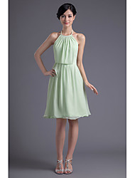 Cocktail Party Dress - Sage Plus Sizes / Petite A-line Halter Knee-length Chiffon