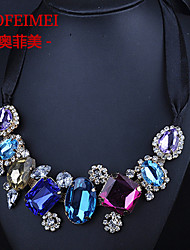 European and American colored gemstone necklace clothing accessories