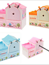 Cute Home House Shaped Pencil Sharpener Student Hand Roll Pencil Cutter(Random Color)