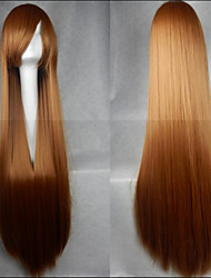 Hot Sale 40 Inches High Temperature Fiber Long Straight Linen Yellow Cosplay Costume Wig Side Bang
