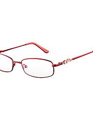 [Free Lenses] Women's Metal Rectangle Full-Rim Fashion Prescription Eyeglasses