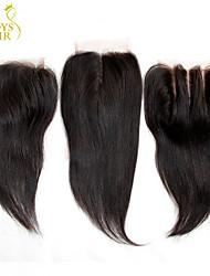 """8 """"-20"""" peruano tamanho encerramento lace reta 4x4 preto natural livre média 3 parte remy virgem laço do cabelo humano tampas superiores"""